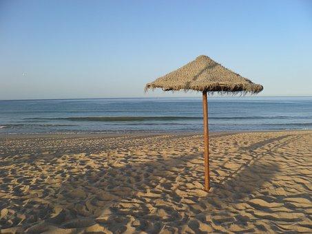Beach, Umbrella, Sea, Deserted, Algarve, Coast