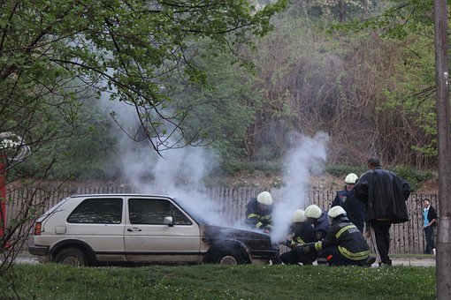 Car, Fire, Firefighters, Vehicle, Transportation