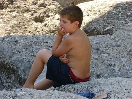 Child, Swimsuit, Think, Thoughtful, Rocks, Thinker