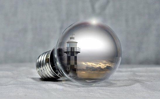 Lighthouse, Pear, Light Bulb, Sea, Clouds, Coast, Light
