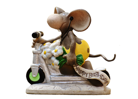 Birthday, Mouse, Roller, Figure, Cute, Greeting