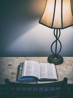 Lamp, Book, Reader, Table, Chair, Dark, Night, Light
