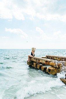 People, Woman, Ocean, Sea, Beach, Pregnant, Swimsuit