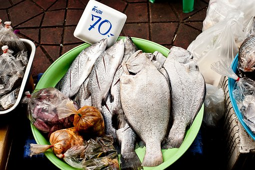 Fish, Seafood, Wet, Market, Price Tag, Meat