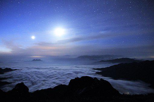 Starry Sky, Clouds, Four People With
