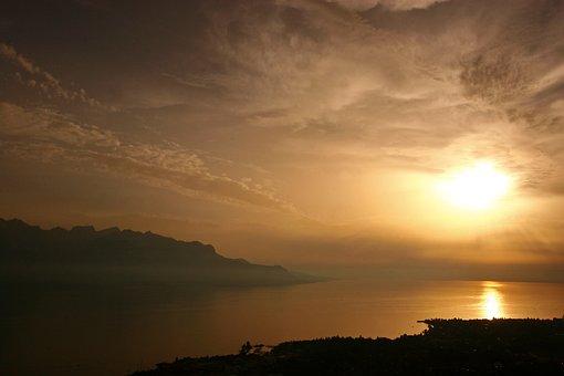 Montreaux, Switzerland, Lake, Sunset, Landscape, Water