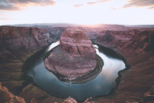 Horseshoe, Bend, River, Water, Landscape, View, Nature