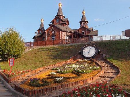 Kharkov, Church, Wooden Church, Clock, Flower Bed