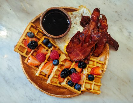 Food, Fried Egg, Blackberry, Strawberry, Waffle