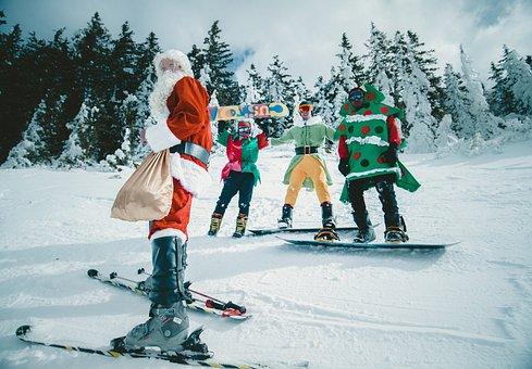 Christmas, Santa, Claus, Snow, Winter, Sport, Trees