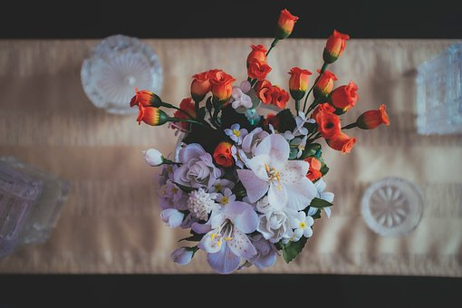 Artificial, Flowers, Table, Cloth