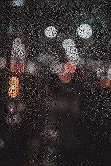 Rain, Dark, Night, Drops, Water, Glass