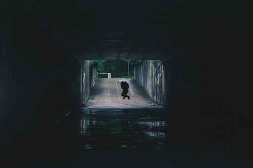 Road, Dark, Tunnel, Path, People, Jump