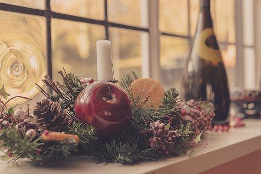 Flower, Apple, Fruit, Window, Display, Pinecone, Decor