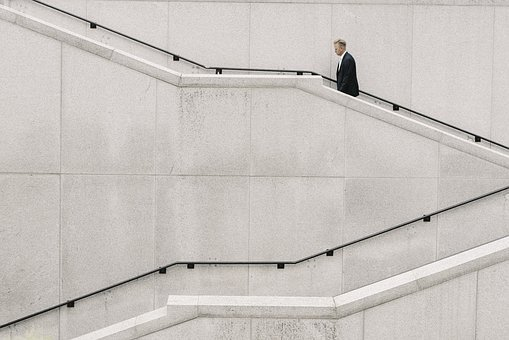 People, Man, Formal, Stairs, Alone, White, Plain