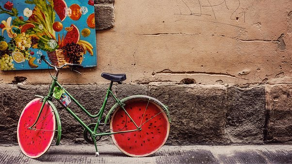 Building, Wall, Bike, Bicycle, Fruits, Frame