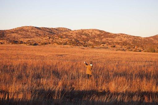 People, Woman, Girl, Selfie, Field, Nature, Grass