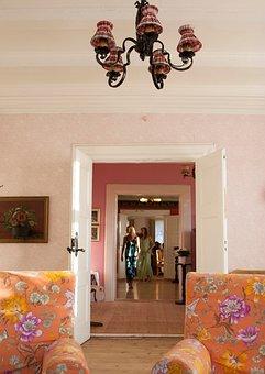 Wall, Sofa, Living Room, People, Women, Door