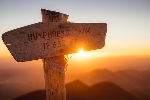 Wood, Sign, Peak, Summit, Sunlight, Sunshine, Sunrise