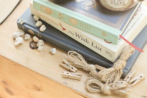 Books, Clip, Scrapbook, Art, Stone, Wooden, Table