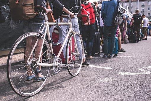 People, Men, Women, Crowd, Street, Line, Travel, Bag
