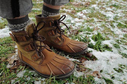 Brown, Leather, Shoe, Footwear, Grass, Outdoor, Snow