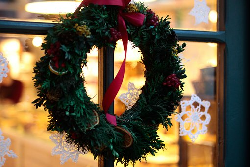 Christmas, Decor, Art, Wreath, Window, Glass, Flower