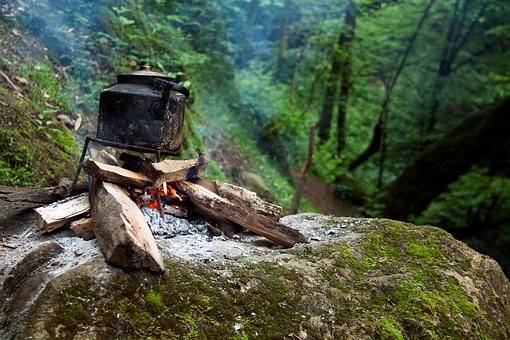 Mountain, Rock, Moss, Green, Plant, Nature, Fire