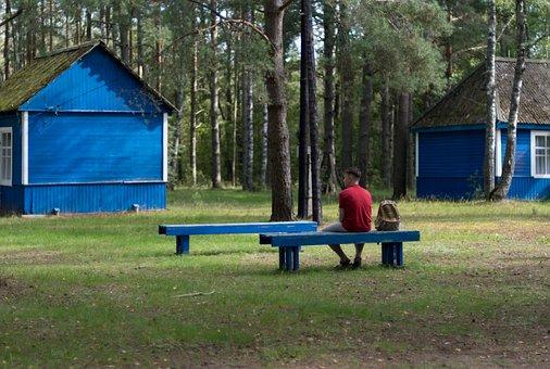 Blue, Cottage, Hut, House, Green, Grass, Playground