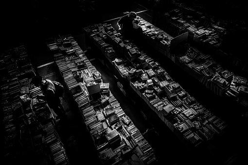 Dark, Room, Black And White, People, Men, Books