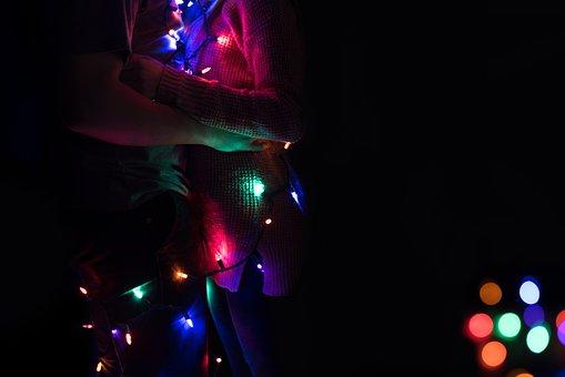 Night, Dark, Lights, Colorful, Bar, Holiday