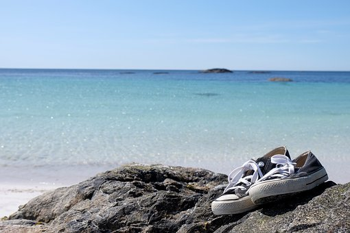 Sneakers, Shoes, Ocean, Sea, Beach, Sand, Travel