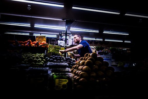 People, Man, Guy, Alone, Market, Grocery, Fruits