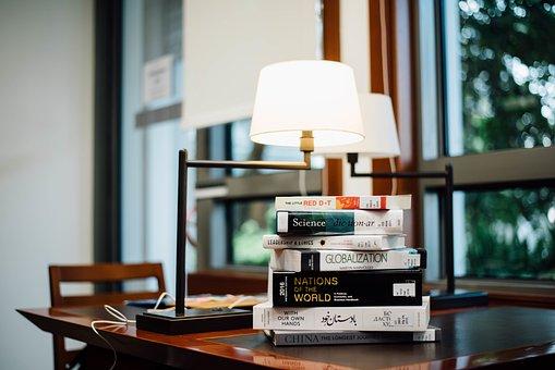 Book, Table, Lights, Lamp, Room, Study