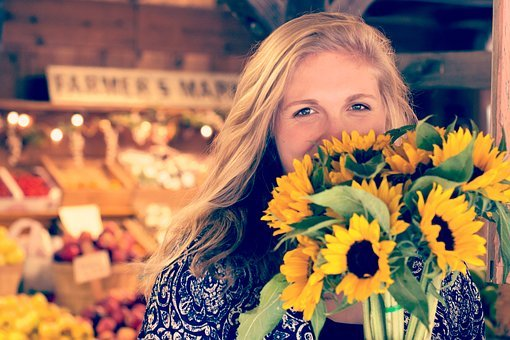 Sunflower, Bunch, People, Girl, Smile, Happy, Grocery