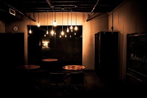 Dark, Room, Lights, Lamp, Table, Shelf, Furniture, Wall