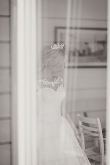 Black And White, People, Woman, Girl, Bride, Wedding