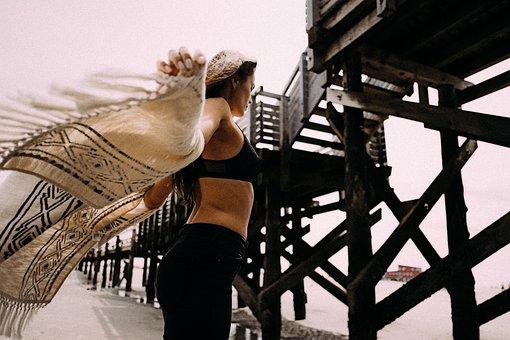 People, Woman, Girl, Female, Sexy, Shawl, Swimming