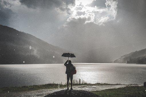 Black And White, People, Woman, Alone, Umbrella