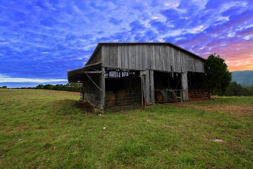 Barn, Sunset, Rural, Landscape, Nature, Farm, Sky
