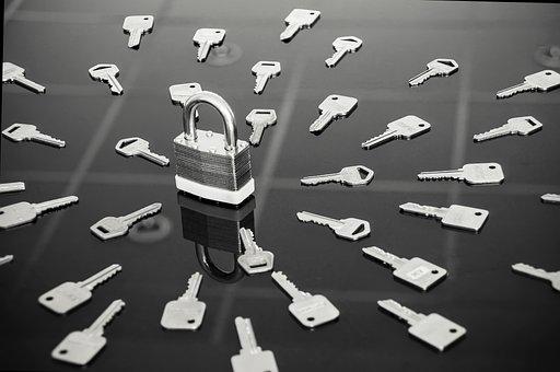 Lock, Keys, Black And White, Steel