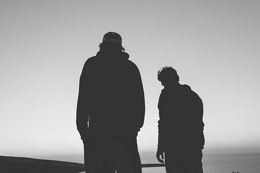 Black And White, People, Men, Silhouette