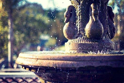 Water, Fountain, Plaza, Art, Sculpture, Blur