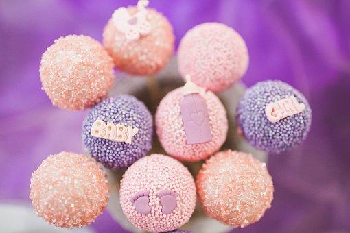 Candy, Food, Pink, Purple, Round, Lollipop, Baby