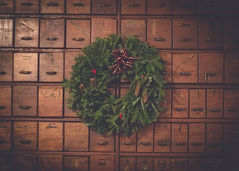 Brown, Wooden, Box, Green, Wreath, Christmas, Day