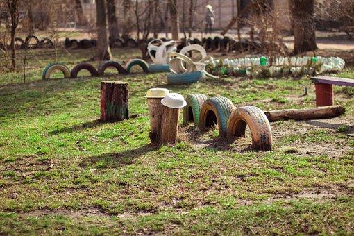 Green, Grass, Wood, Wheel, Rubber, Bench, Playground