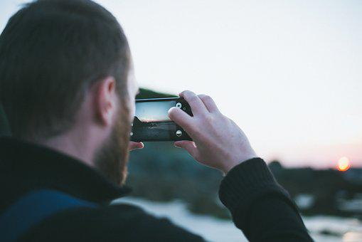 People, Man, Alone, Beard, Mobile, Phone, Camera, Photo