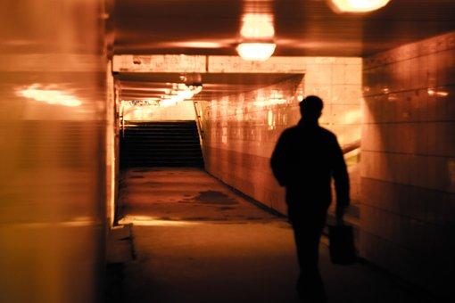 People, Man, Alone, Walking, Building, Light, Alley