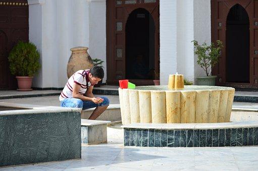 Men, Pray, Water, Mosque, Algeria, Big Mosque