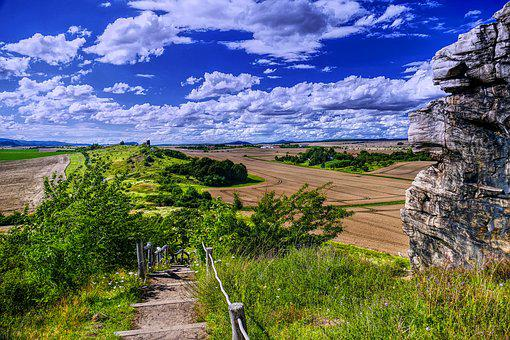Panorama, Idyll, Landscape, Rock, Formation, Clouds